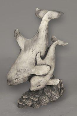 Tuinbeeld Dolfijn Duo Beton