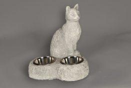 Tuinbeeld Katten Drinkbak + Etensbak Beton