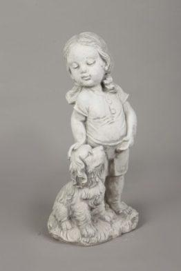 Tuinbeeld Meisje Met Hond Beton