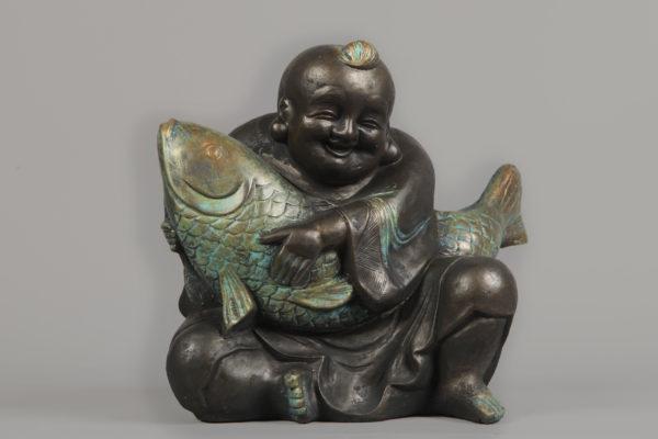 Boeddha Met Koi Brons Paint